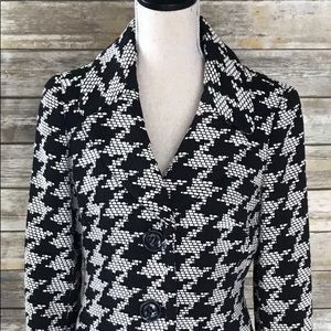 Talbots Black Houndstooth 2 Button Pea Coat -10P